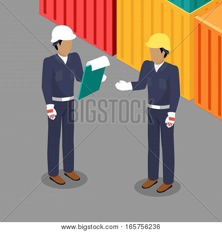 Cargo Worker and Foreman Talking in Warehouse. Two people discussing business issues near the ship container cargoes. Engineer and worker in helmets talking in flat style design. Vector illustration