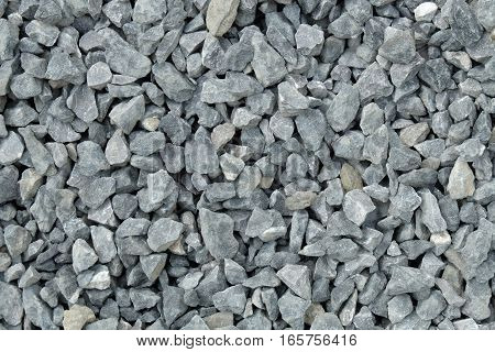 aggregate consisting of large coarse stones with irregular shapes and colors. A stack of gravel at a stonepit that has been crushed and broken from bigger rocks.