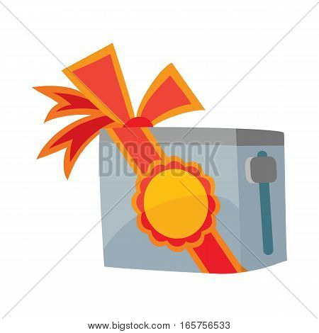 Toaster with red sale label and bow isolated. Sale of household appliances. Sale badge tag. Home appliances. Toast, kettle, toast bread, toaster oven. Electronic device with red discount percentage.
