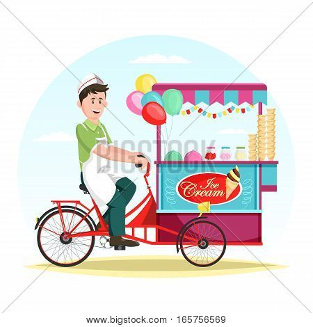 Man selling ice cream at cart or striped kiosk, wagon with balloons. Wheel shop or store trading cold dessert food outdoor at trolley. Commerce stand or showcase with sunshade or umbrella. Merchandise