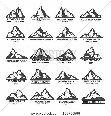 Set of isolated mountains with rocky peaks. Landscape of winter rocks or hills icons, nature peaks outdoor view. Travel agency logo, tourism, adventure and expedition, exploration hiker club, climbing