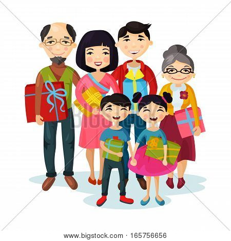 Cartoon happy family gifts and children or kids with presents. Husband and wife, grandmother and grandfather, brother and sister, father and mother couple with daughter and son. Parenting sign