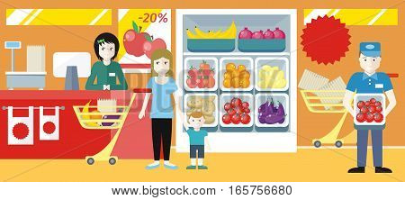 Shopping in supermarket concept. Flat design. Mother with child buying food in fruit vegetables section. Buyers and personnel in shop interior. Seasonal sales and discounts in grocery store.