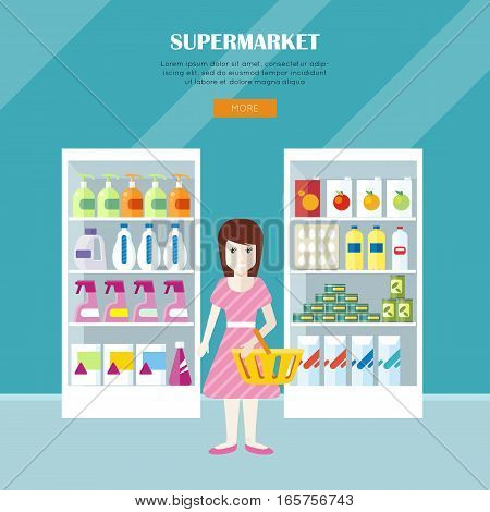 Supermarket concept web banner. Flat design. Woman character with basket near shelves with food and household products in store. Consumers choice and assortment illustration for web page design.