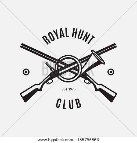 Vintage style vector hunt club logo with hunting rifles on white backdrop