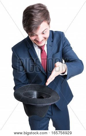 Smiling Man Wearing Suit Holding Hat Like Begging