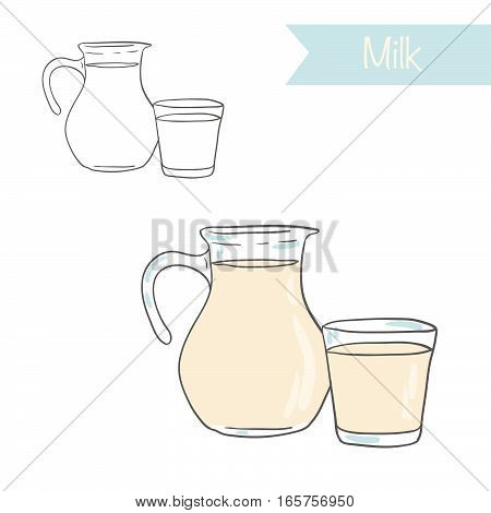 Hand drawn outlined and colored vector milk