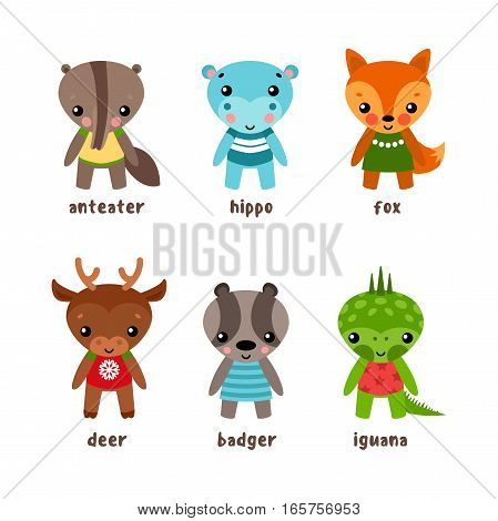 Cartoon smiling animal characters. Funny isolated children of iguana or guana and deer, badger and fox, hippo or hippopotamus, behemoth or brock, anteater and deer. Wood animals and lizards, nature