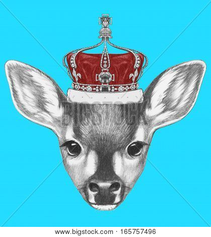 Portrait of Fawn with crown. Hand drawn illustration.