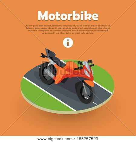 Motorbike isometric on part of road. Motorcycle, bike, cycle. Two wheeled motor vehicle. Biker chopper. Transport modern motorbike with power engine. Classic bike for riding in flat style. Vector