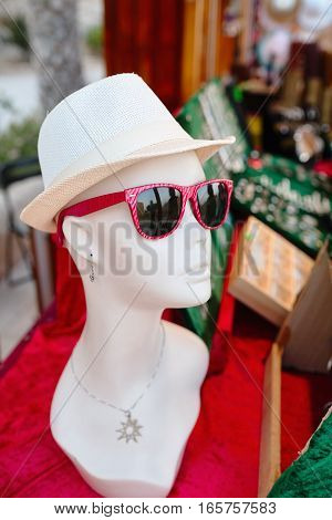 Mannequin woman with glasses and hat. Spain.