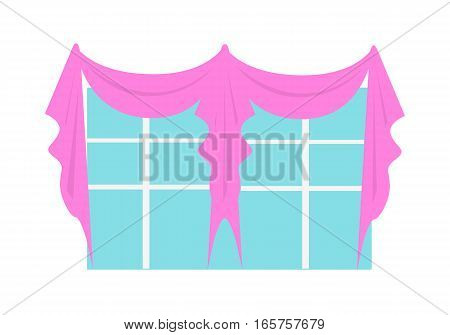 Wedding decoration element. Window decorated with wedding accessoires. Luxury decorated interior. Fashionable marriage concept. Special decorative attribute. Vector in flat style illustration