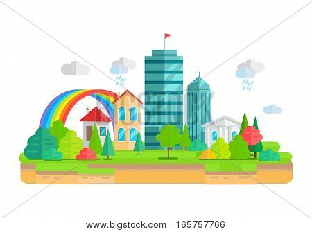 City landscape with apartment building, business multistory building, cottage house, Trees, grass, bushes and rainbow. Isolated object on white background. Vector illustration.