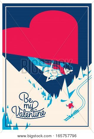 cute romantic card for valentine's day, vector illustration, valentine, poster