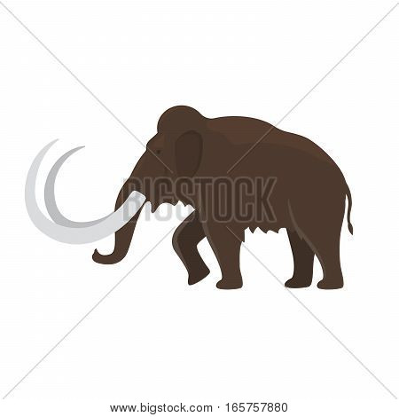 Prehistoric animal. Vector cartoon ancient mammal ice age extinct animal, mammoth