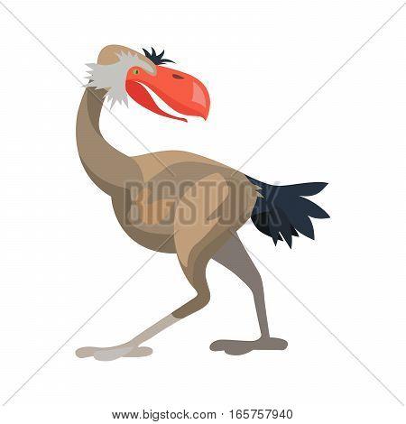 Prehistoric animal. Vector cartoon ancient mammal ice age extinct bird