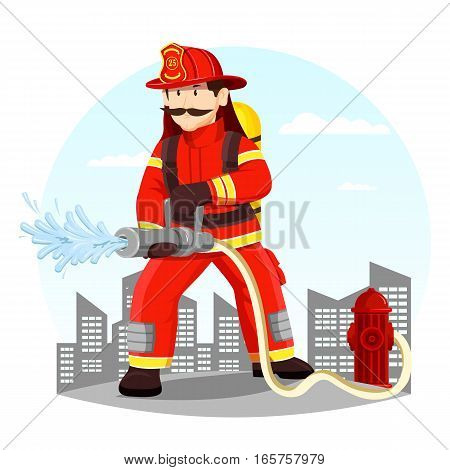 Fireman in helmet near hydrant spraying water. Rescue man in uniform and helmet at front of town or city. Person with extinguisher, hero character with hose. Occupation and alarm, firefight theme
