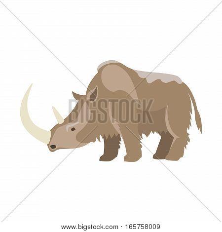 Prehistoric animal. Vector cartoon ancient mammal, ice age rhinoceros