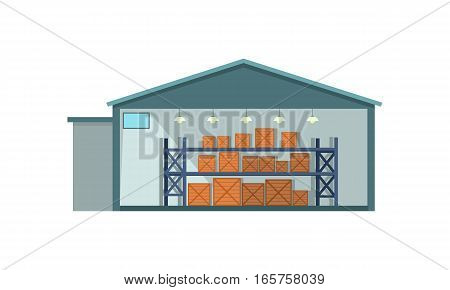 Warehouse interior, logisti and factory building exterior, business delivery, storage cargo vector illustration. Logistics and transportation of cargo. Isolated object in flat on white background.