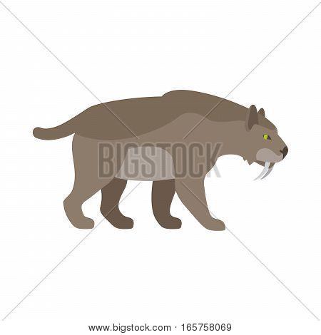 Prehistoric cartoon ancient mammal animal saber tiger vector illustration