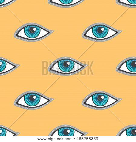 Blue eyes patch vector seamless pattern. Fashion human eyes illustration