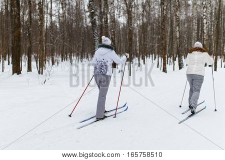Young athletes on skis in winter forest day