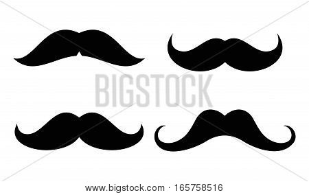 Vector mustaches icons set in black and white. Male black mustache design illustration