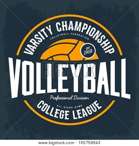 Volleyball ball as logo for college tournament. T-shirt or cloth print for varsity tournament, hand athletic sport, league division banner. Branding and clothing advertising, shirt gear for players