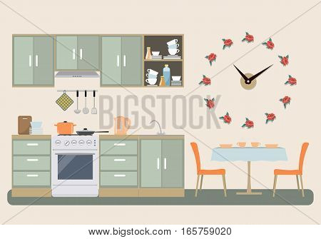 Kitchen in provence color. There is a furniture, a stove, a table with chairs, a big clock in a shape of roses on the wall and other objects in the picture. Vector flat illustration.