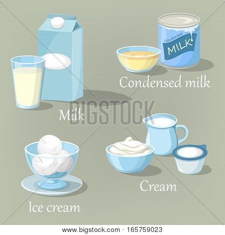 Calcium milk products in carton pack and glass. Balls of ice cream in glassware, condensed organic farm drink and whipped cream food, healthy kefir. Diet and grocery, shop or store, rural meal theme