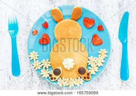 Easter bunny pancakes creative idea for kids Easter breakfast top view