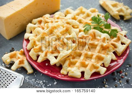 Cheese waffle snack thick waffles with cheese and spice