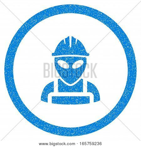 Rounded Alien Worker rubber seal stamp watermark. Icon symbol inside circle with grunge design and scratched texture. Unclean vector blue emblem.