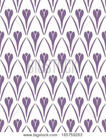 Seamless floral pattern. Crocus vintage background. Flower texture. Violet, white contrast colored. Vector
