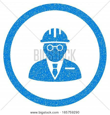 Rounded Blind Engineer rubber seal stamp watermark. Icon symbol inside circle with grunge design and scratched texture. Unclean vector blue sign.