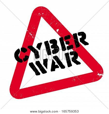 Cyber War rubber stamp. Grunge design with dust scratches. Effects can be easily removed for a clean, crisp look. Color is easily changed.