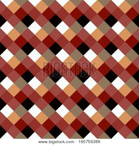 Seamless geometric checked pattern. Diagonal square, braiding, woven line background. Patchwork, rhombus, staggered texture. Brown, red, white, gray, chocolate, coffee colored. Vector