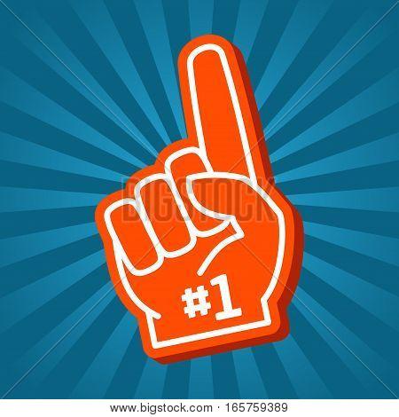 Bright orange foam hand vector illustration. Hand finger element design