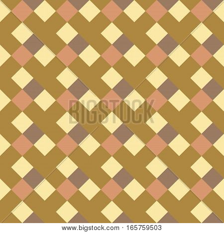 Seamless geometric checked pattern. Diagonal square, woven line background. Rhombus, patchwork texture. Yellow, orange colored. Vector