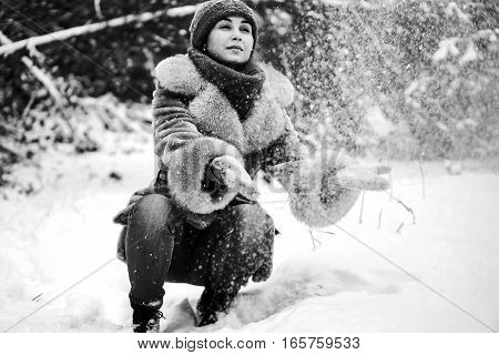 Young Pretty Girl Walking Outdoor In Winter Time