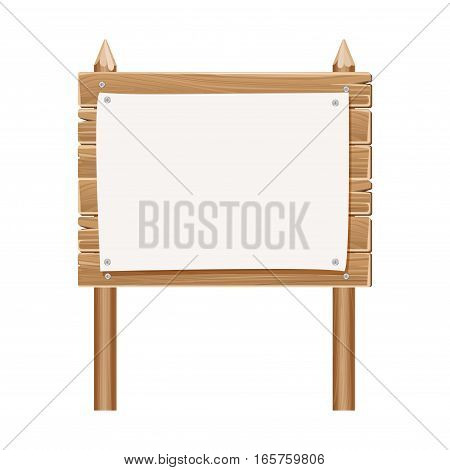 Wooden blank sign board with paper isolated on white. Wood board with paper sheet illustration