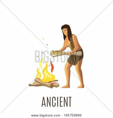 Ancient woman making fire, isolated vector illustration with sign