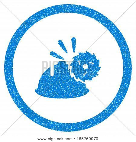 Rounded Circular Blade Head Protection rubber seal stamp watermark. Icon symbol inside circle with grunge design and dirty texture. Unclean vector blue sign.
