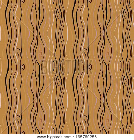 Seamless striped pattern. Vertical thin wavy lines. Winter theme texture. Orange, black colored background. Vector