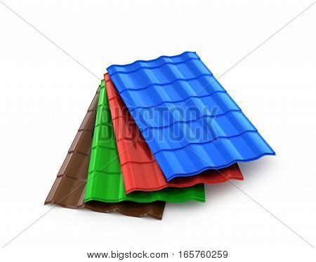 stack of metal tiles isolated on white background 3d illustration