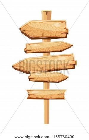 Old wooden planks blank cartoon sign board isolated on white. Wooden arrow symbol illustration