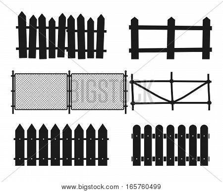 Rural wooden fences, pickets vector silhouettes. Wood design straight fence illustration