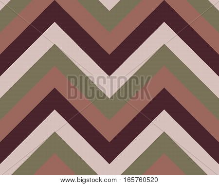 Striped, zigzagging seamless pattern. Zig-zag line texture. Stripy geometric background. Brown, gray, beige olive colored. Vector