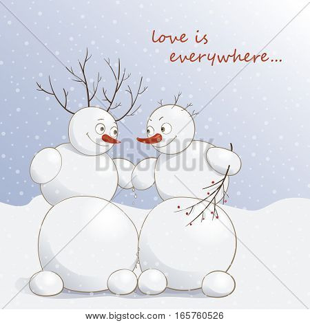 Vector illustration of cute amorous snowmen under the snow with the text