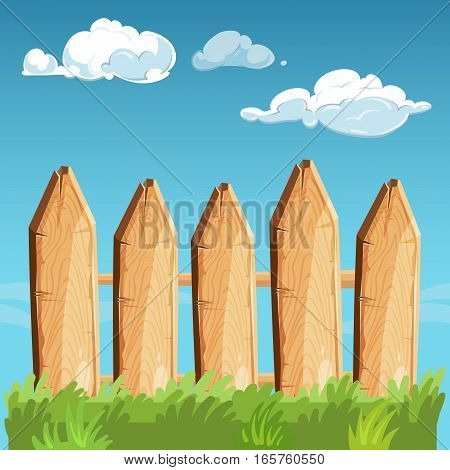 Cartoon rural wooden fence blue sky vector illustration. Fence wooden outdoor